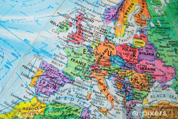 Map Of The World Close Up.World Globe Map Close Up Of Europe Sticker Pixerstick