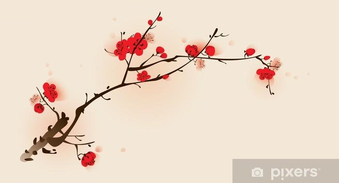 Fototapeta winylowa Malarstwo styl orientalny, kwiat śliwy na wiosnę - Tematy