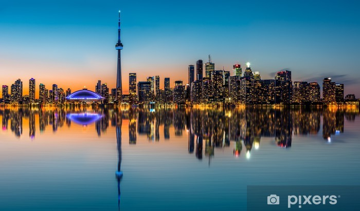 Toronto skyline at dusk reflected in the Inner Harbour Bay Pixerstick Sticker - America