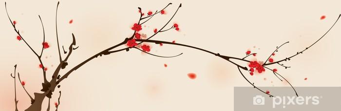 Fototapeta winylowa Malarstwo styl orientalny, kwiat śliwy na wiosnę - Style