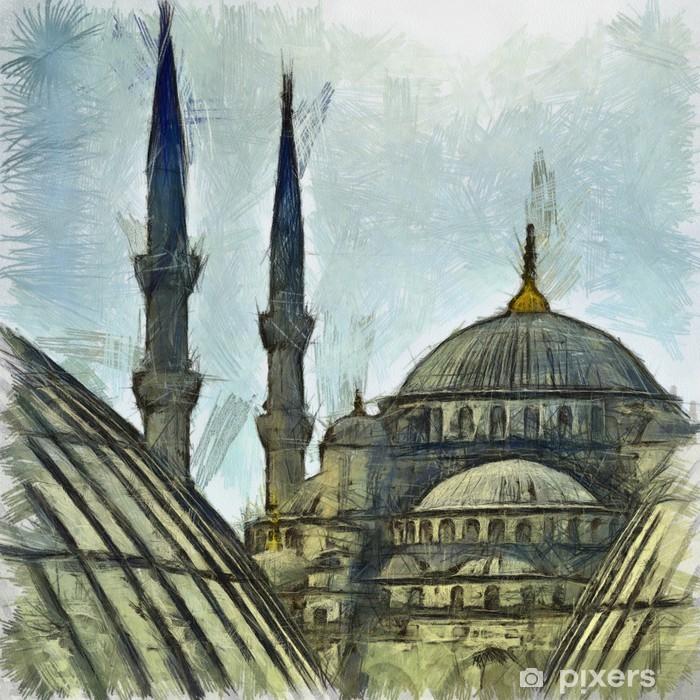 Sticker Pixerstick Dessin Mosquée Bleue - Art et création