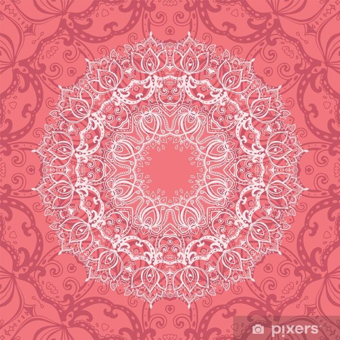 Naklejka na biurko i stół Różowy mandali. - Style