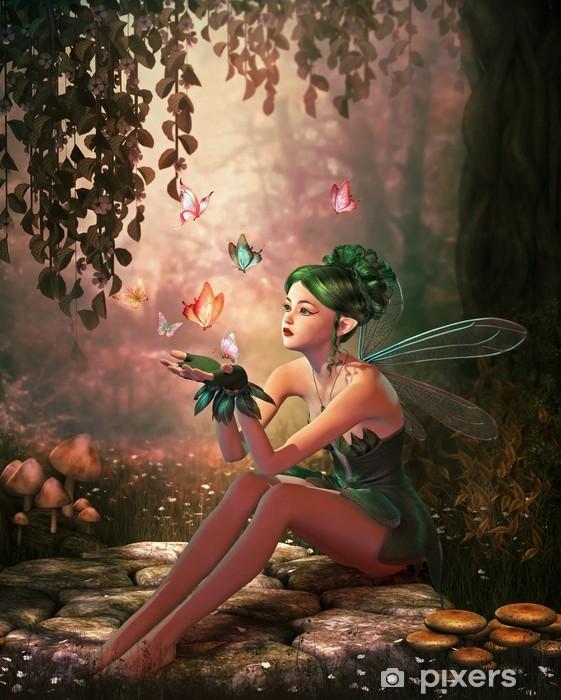 Vinyl Fotobehang Een plaats van de vlinders, 3d CG - Bestemmingen