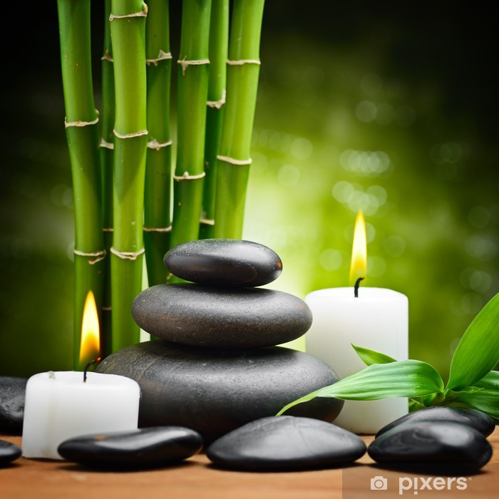 Kylpylä asetelma zen basaltti kivet ja kynttilä Pixerstick tarra -