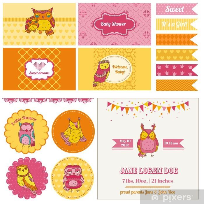 Carta da Parati in Vinile Baby Shower Party Set Owl - Celebrazioni