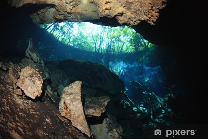 Fototapeta winylowa Powierzchnia Wejście cenote jaskini podwodnej - Ameryka