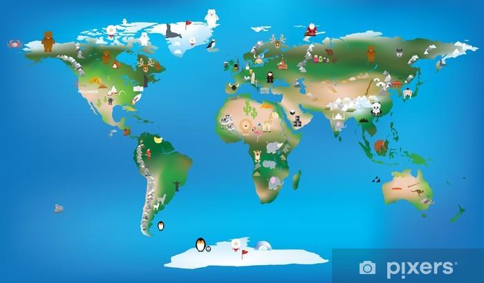 Vinyl-Fototapete Weltkarte für Kinder mit Karikaturen von Tieren und berühmten lan - Für Schüler
