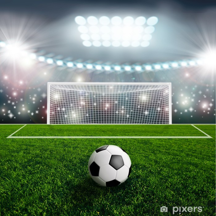 Sticker Pixerstick Ballon de soccer sur scène du stade vert - Réussite