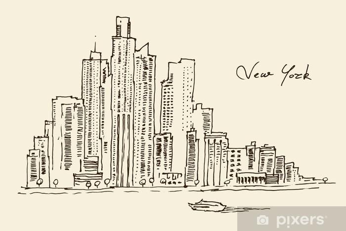 Sticker Pixerstick New York architecture de la ville, millésime gravé illustration - Paysages urbains