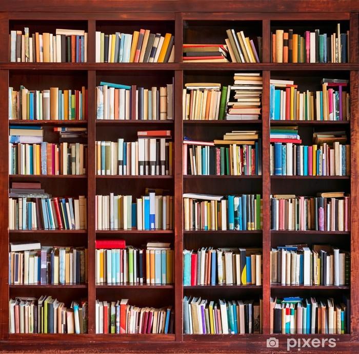 vinyl fotobehang boekenkast vol met boeken bibliotheek