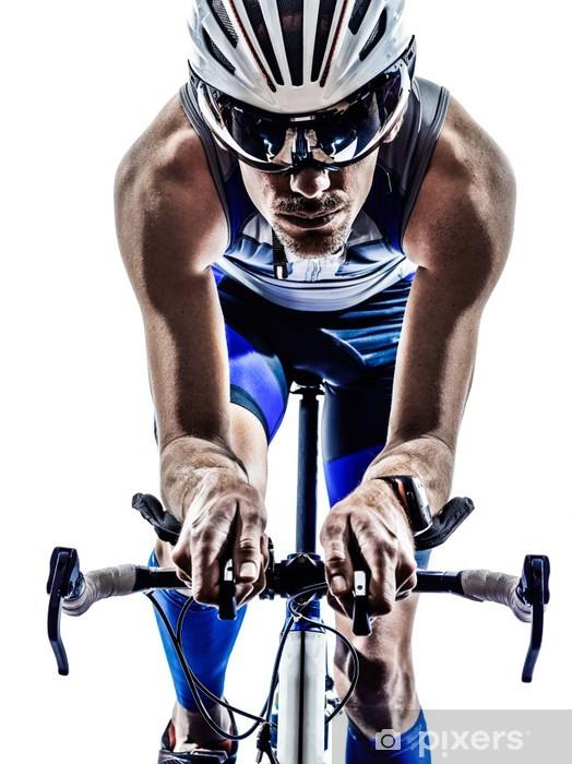 Papier peint vinyle Homme triathlon Iron Man athlète cycliste vélo - Thèmes