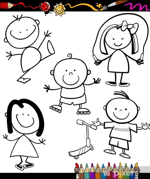 Mutlu Cocuklar Karikatur Boyama Kitabi Duvar Resmi Pixers