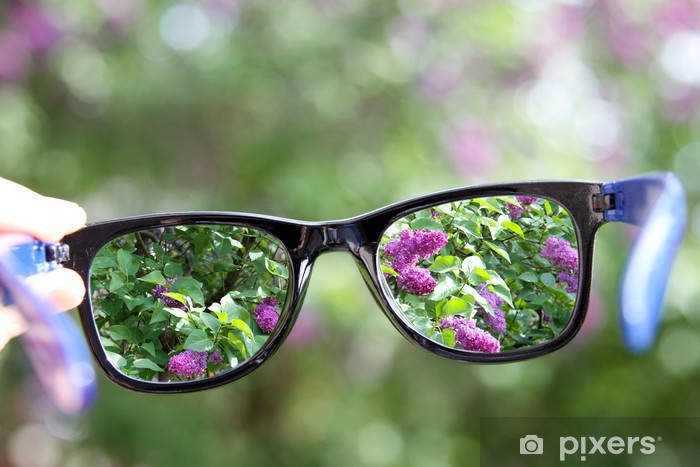 9d2b829a658b eyeglasses in the hand over blurred background Pixerstick Sticker - Health  and Medicine