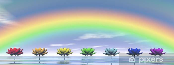 Fotomural Estándar Chakras y arco iris - 3D render - Arcos iris