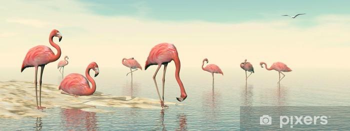 Fototapeta winylowa Stado różowych flamingów - 3D render - Ptaki