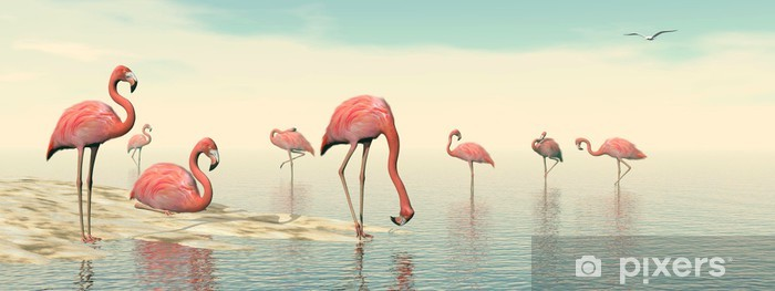 Flock of pink flamingos - 3D render Vinyl Wall Mural - Birds