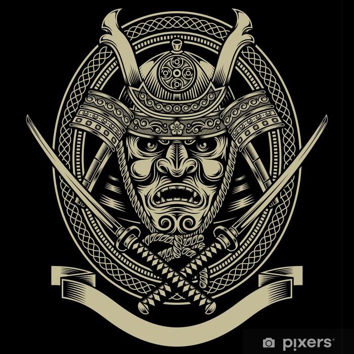 Pixerstick Sticker Samurai krijger met katana zwaard -