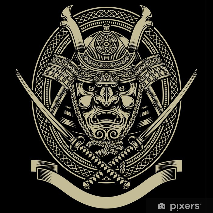 Samurai Warrior With Katana Sword Vinyl Wall Mural -