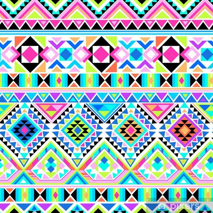 neon aztec print ~ seamless background Vinyl Wall Mural - Themes