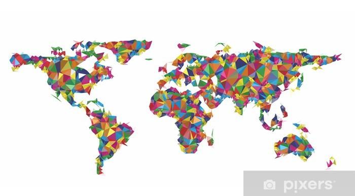 Sticker Carte Du Monde Coloré Géométrique Pixerstick