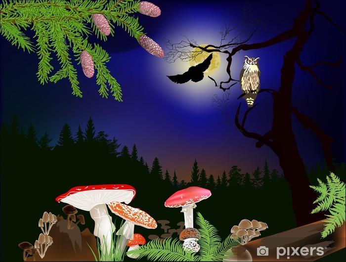 Sticker Pixerstick Champignons et hiboux dans la forêt de nuit - Forêt