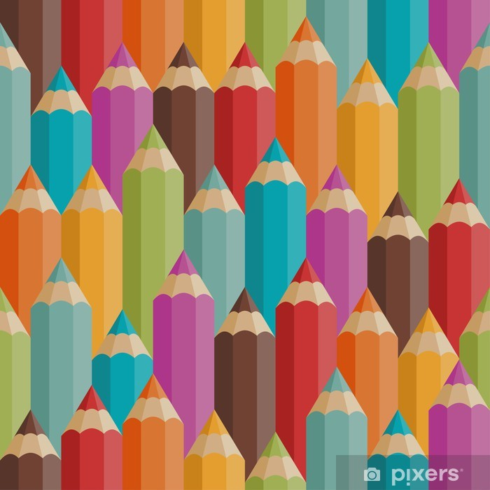 Seamless pattern with colored pencils in retro style. Poster - Destinations