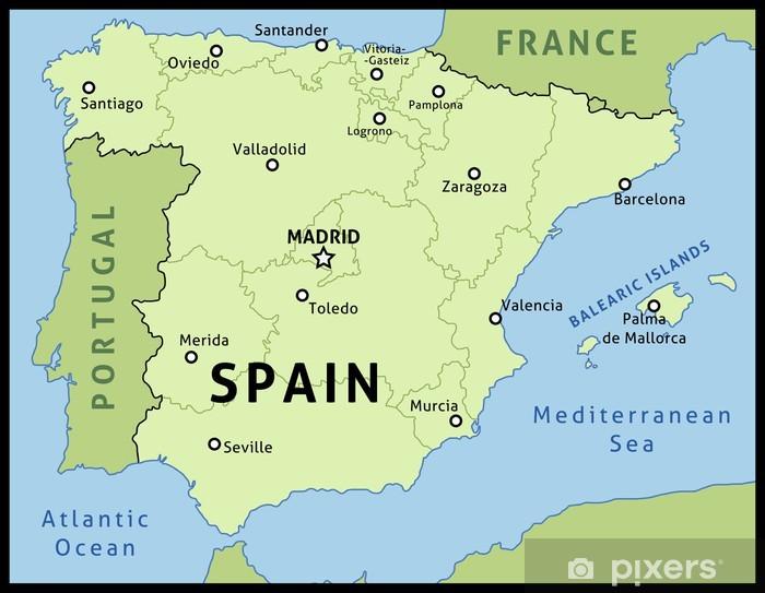 Kort Over Spanien Vektor Illustration Pixerstick Klistermaerke