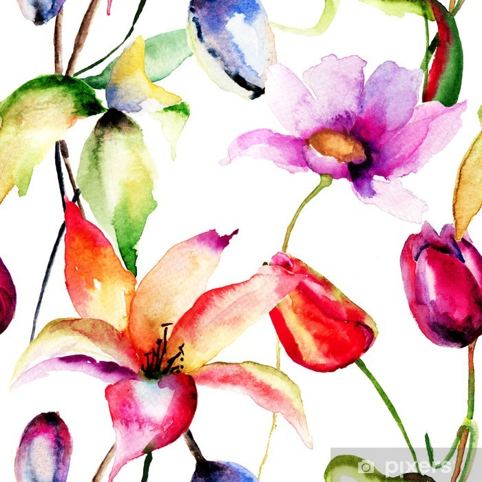 Watercolor painting of Tulips and Lily flowers Vinyl Wall Mural - Flowers