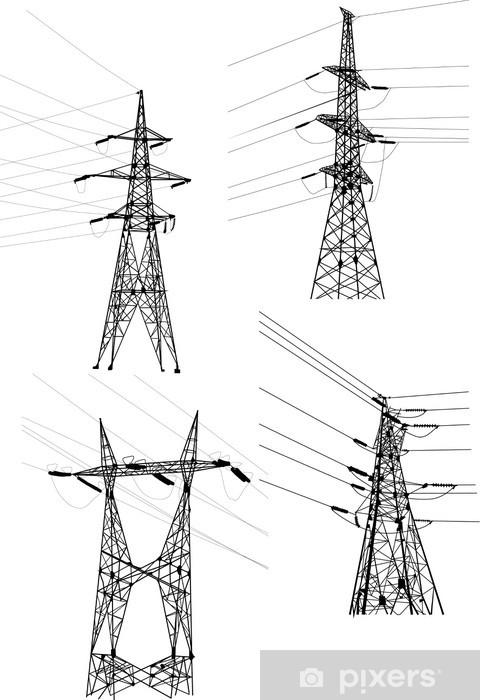Papier peint vinyle Quatre pylônes et des câbles électriques sur le blanc - Bâtiments commerciaux et industriels