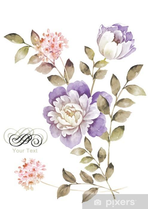 Sticker Fleurs Aquarelle D Illustration En Arriere Plan Simple
