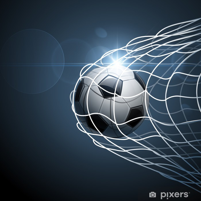 Soccer ball in goal. Vector Self-Adhesive Wall Mural -