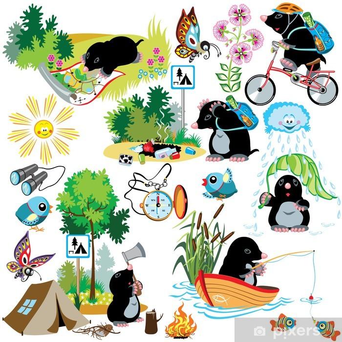 Vinyl Fotobehang Set met cartoon mol op de camping - Zoogdieren