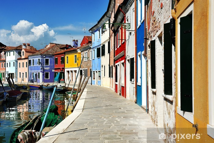 Venice, Burano island canal and colorful houses, Italy Vinyl Wall Mural - European Cities