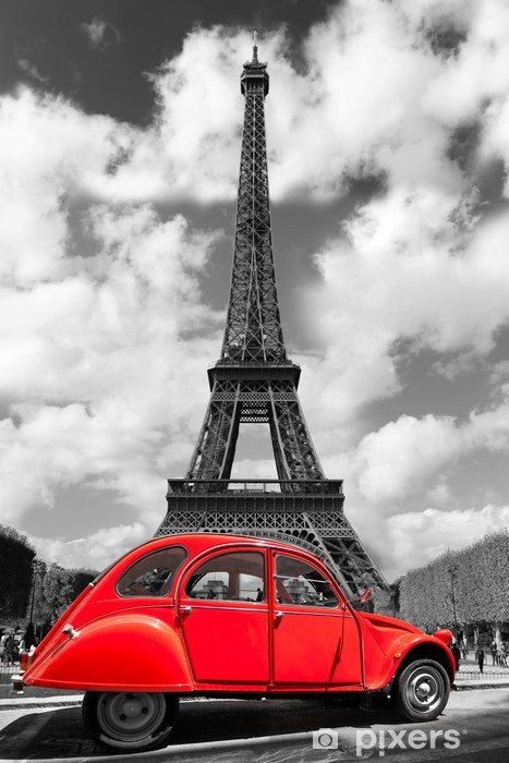 Eiffel Tower with red old car in Paris, France Pixerstick Sticker -
