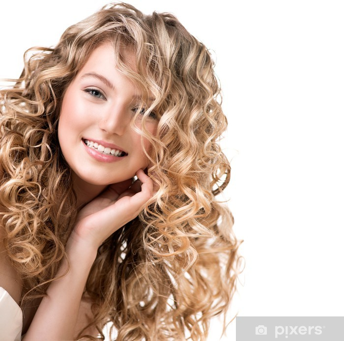 Kauneus tyttö blondi kiharat hiukset. pitkät karvat Pixerstick tarra -  Naiset e4ddff4521