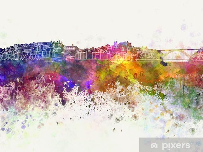 Fototapeta winylowa Porto skyline w tle akwarela - Europa
