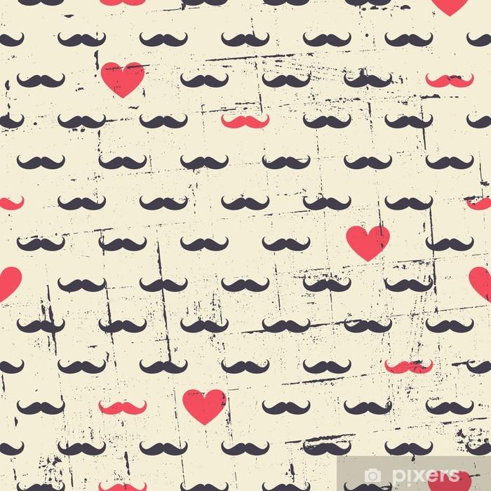Seamless Mustache and Hearts Background Pixerstick Sticker - Moustache