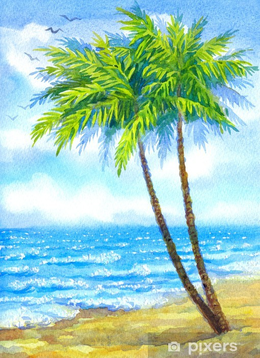 Watercolor Landscape Tall Palms On A Sandy Beach Wall Mural