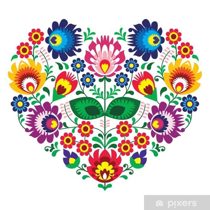 Adesivo Pixerstick English olk arte arte cuore ricamo - modelli Lowickie -
