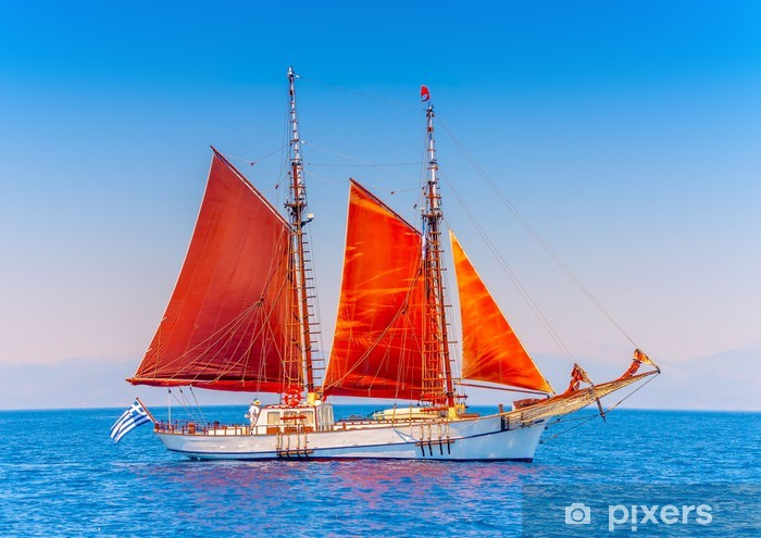 Old Classic Wooden Sailing Boat In Spetses Island In Greece Wall Mural Vinyl