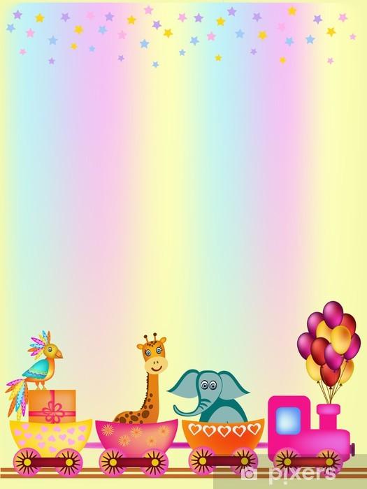 Sticker Pixerstick Perroquet, girafe, éléphant dans le cadre de train - Pour enfant 5 ans