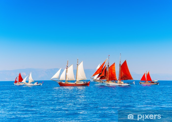 Several Old Wooden Sailing Boats In Spetses Island In Greece Wall Mural Vinyl