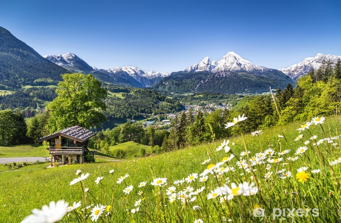 Scenic landscape in the Bavarian Alps Pixerstick Sticker - Germany
