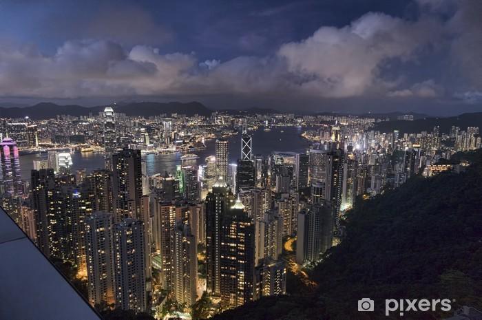 Fototapeta winylowa Nocny widok na wyspie Hong Kong z Victoria Peak - Azja
