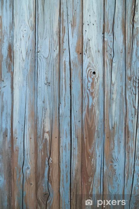 Papier peint vinyle Vieux mur de bois bleu -