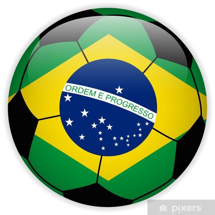 a6da9c0ef0004 Fotomural Bandera de Brasil con el balón de fútbol de fondo • Pixers ...
