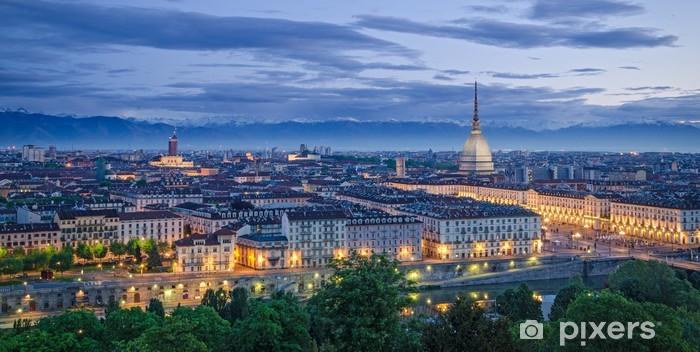 Sticker Pixerstick Panorama de Turin au crépuscule - Thèmes