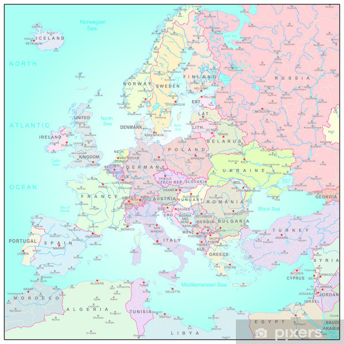 Administrative map of Europe Pixerstick Sticker - Asia