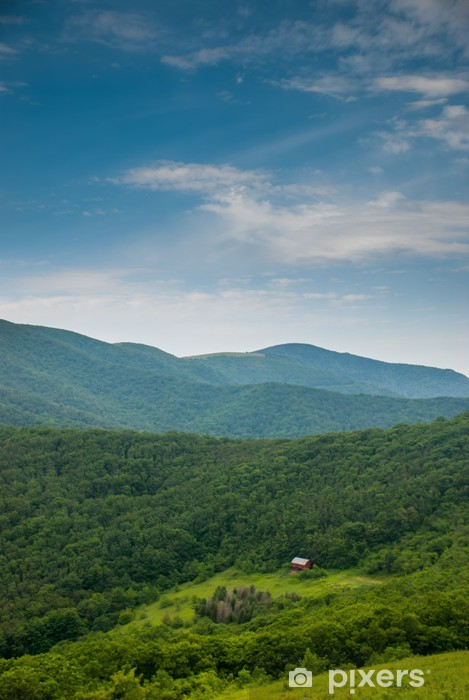 Distant View of the Overmountain Shelter Vinyl Wall Mural - Mountains