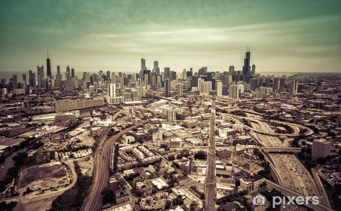 Fotomural Estándar Horizonte aéreo de chicago de Chicago - efecto vintage - Transportes
